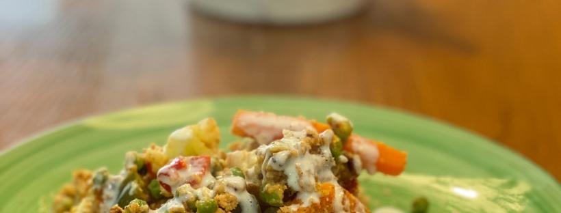 Crumble de verduras al curry